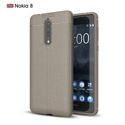 Luxury Auto Focus Litchi Texture Silicone TPU Back Cover for Nokia 8 - Gray
