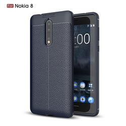 Luxury Auto Focus Litchi Texture Silicone TPU Back Cover for Nokia 8 - Dark Blue