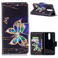 Golden Shining Butterfly Leather Wallet Case for Nokia 8