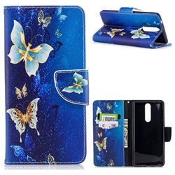 Golden Butterflies Leather Wallet Case for Nokia 8
