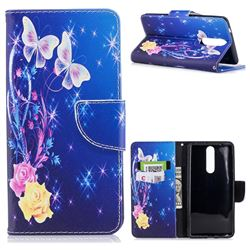 Yellow Flower Butterfly Leather Wallet Case for Nokia 8