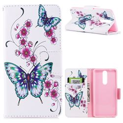 Peach Butterflies Leather Wallet Case for Nokia 8
