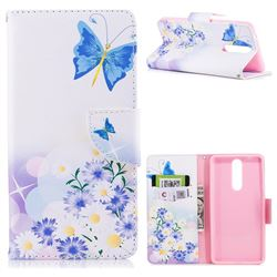 Butterflies Flowers Leather Wallet Case for Nokia 8