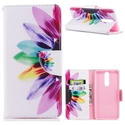 Seven-color Flowers Leather Wallet Case for Nokia 8