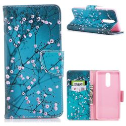 Blue Plum Leather Wallet Case for Nokia 8