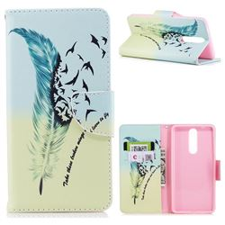 Feather Bird Leather Wallet Case for Nokia 8