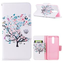Colorful Tree Leather Wallet Case for Nokia 8