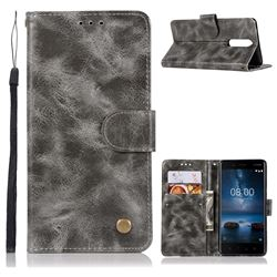 Luxury Retro Leather Wallet Case for Nokia 8 - Gray