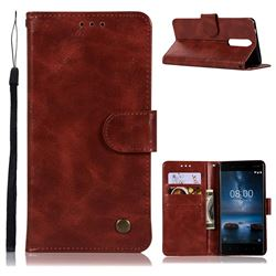 Luxury Retro Leather Wallet Case for Nokia 8 - Wine Red