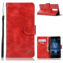 Luxury Retro Leather Wallet Case for Nokia 8 - Red