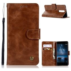 Luxury Retro Leather Wallet Case for Nokia 8 - Brown