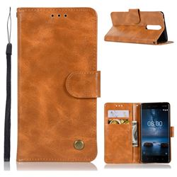 Luxury Retro Leather Wallet Case for Nokia 8 - Golden