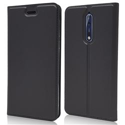 Ultra Slim Card Magnetic Automatic Suction Leather Wallet Case for Nokia 8 - Star Grey