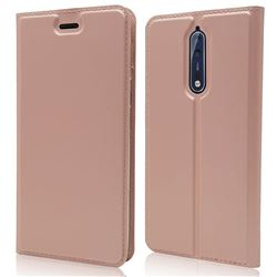 Ultra Slim Card Magnetic Automatic Suction Leather Wallet Case for Nokia 8 - Rose Gold