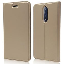 Ultra Slim Card Magnetic Automatic Suction Leather Wallet Case for Nokia 8 - Champagne