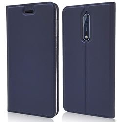 Ultra Slim Card Magnetic Automatic Suction Leather Wallet Case for Nokia 8 - Royal Blue
