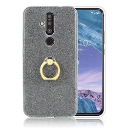 Luxury Soft TPU Glitter Back Ring Cover with 360 Rotate Finger Holder Buckle for Nokia 8.1 Plus (Nokia X71) - Black
