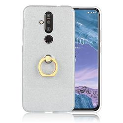 Luxury Soft TPU Glitter Back Ring Cover with 360 Rotate Finger Holder Buckle for Nokia 8.1 Plus (Nokia X71) - White