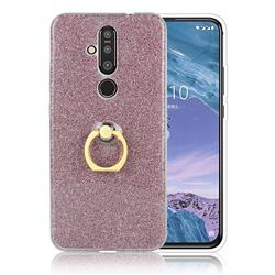 Luxury Soft TPU Glitter Back Ring Cover with 360 Rotate Finger Holder Buckle for Nokia 8.1 Plus (Nokia X71) - Pink