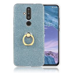 Luxury Soft TPU Glitter Back Ring Cover with 360 Rotate Finger Holder Buckle for Nokia 8.1 Plus (Nokia X71) - Blue