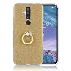 Luxury Soft TPU Glitter Back Ring Cover with 360 Rotate Finger Holder Buckle for Nokia 8.1 Plus (Nokia X71) - Golden