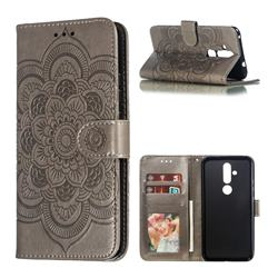 Intricate Embossing Datura Solar Leather Wallet Case for Nokia 8.1 Plus (Nokia X71) - Gray
