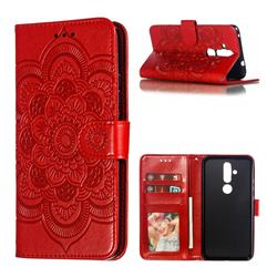 Intricate Embossing Datura Solar Leather Wallet Case for Nokia 8.1 Plus (Nokia X71) - Red