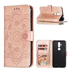 Intricate Embossing Datura Solar Leather Wallet Case for Nokia 8.1 Plus (Nokia X71) - Rose Gold