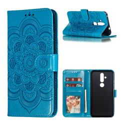 Intricate Embossing Datura Solar Leather Wallet Case for Nokia 8.1 Plus (Nokia X71) - Blue