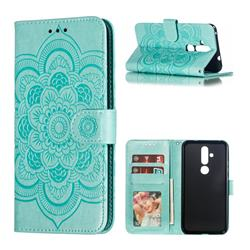 Intricate Embossing Datura Solar Leather Wallet Case for Nokia 8.1 Plus (Nokia X71) - Green