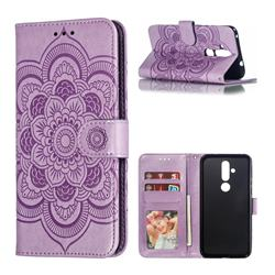 Intricate Embossing Datura Solar Leather Wallet Case for Nokia 8.1 Plus (Nokia X71) - Purple