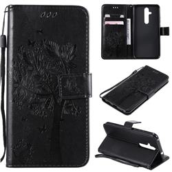 Embossing Butterfly Tree Leather Wallet Case for Nokia 8.1 Plus (Nokia X71) - Black