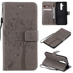 Embossing Butterfly Tree Leather Wallet Case for Nokia 8.1 Plus (Nokia X71) - Grey