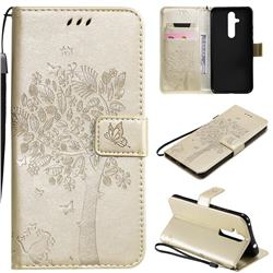 Embossing Butterfly Tree Leather Wallet Case for Nokia 8.1 Plus (Nokia X71) - Champagne