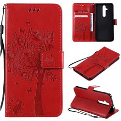 Embossing Butterfly Tree Leather Wallet Case for Nokia 8.1 Plus (Nokia X71) - Red
