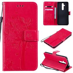 Embossing Butterfly Tree Leather Wallet Case for Nokia 8.1 Plus (Nokia X71) - Rose