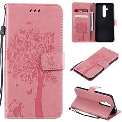 Embossing Butterfly Tree Leather Wallet Case for Nokia 8.1 Plus (Nokia X71) - Pink