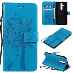 Embossing Butterfly Tree Leather Wallet Case for Nokia 8.1 Plus (Nokia X71) - Blue