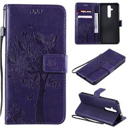 Embossing Butterfly Tree Leather Wallet Case for Nokia 8.1 Plus (Nokia X71) - Purple