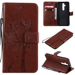 Embossing Butterfly Tree Leather Wallet Case for Nokia 8.1 Plus (Nokia X71) - Coffee