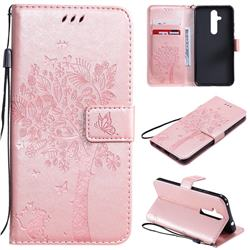 Embossing Butterfly Tree Leather Wallet Case for Nokia 8.1 Plus (Nokia X71) - Rose Pink