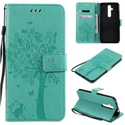 Embossing Butterfly Tree Leather Wallet Case for Nokia 8.1 Plus (Nokia X71) - Cyan