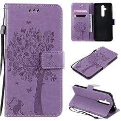 Embossing Butterfly Tree Leather Wallet Case for Nokia 8.1 Plus (Nokia X71) - Violet