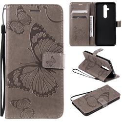 Embossing 3D Butterfly Leather Wallet Case for Nokia 8.1 Plus (Nokia X71) - Gray