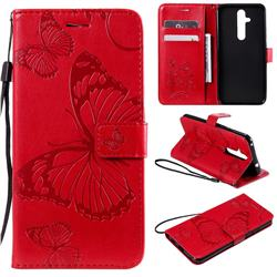 Embossing 3D Butterfly Leather Wallet Case for Nokia 8.1 Plus (Nokia X71) - Red