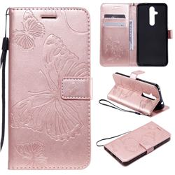 Embossing 3D Butterfly Leather Wallet Case for Nokia 8.1 Plus (Nokia X71) - Rose Gold