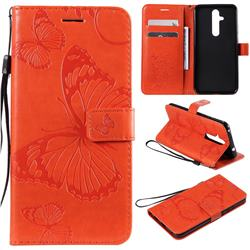 Embossing 3D Butterfly Leather Wallet Case for Nokia 8.1 Plus (Nokia X71) - Orange