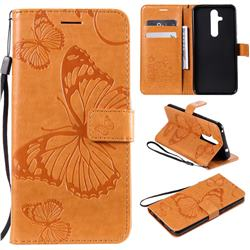 Embossing 3D Butterfly Leather Wallet Case for Nokia 8.1 Plus (Nokia X71) - Yellow