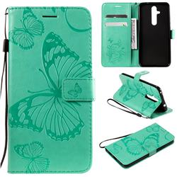 Embossing 3D Butterfly Leather Wallet Case for Nokia 8.1 Plus (Nokia X71) - Green