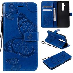 Embossing 3D Butterfly Leather Wallet Case for Nokia 8.1 Plus (Nokia X71) - Blue